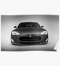 Graue Tesla Model S Luxus Elektroauto Vorderansicht Kunst Fotodruck Poster