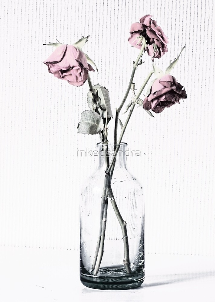 Three frazzled roses and a glass bottle by inkedsandra