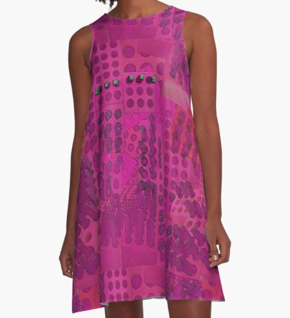 I Love You Letter Punches Abstract Pink A-Line Dress
