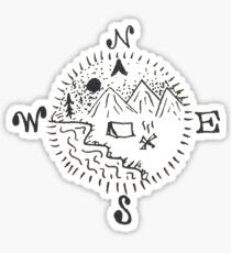 Compass Camping Scenery  Sticker