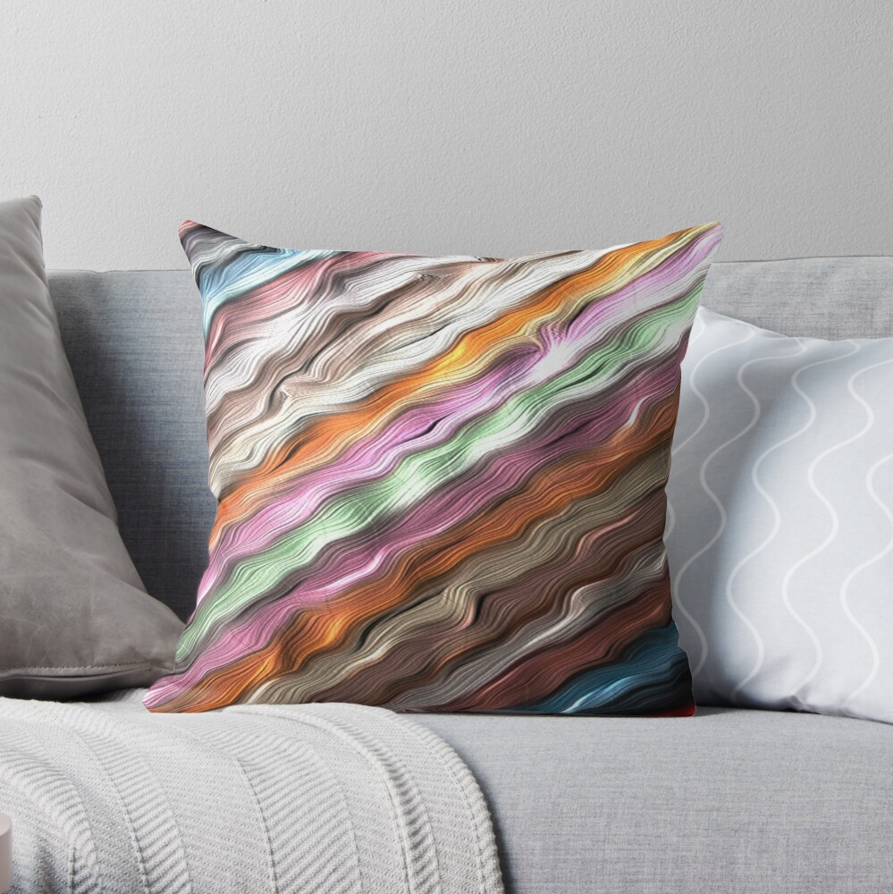 ICE CRAM PATTERN STRIPES WITH TEXTURED WAVES OF COLOR Throw Pillow
