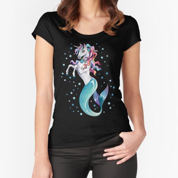 Unicorn Mermaid Mermicorn Cute T-Shirt Gifts Fitted Scoop T-Shirt