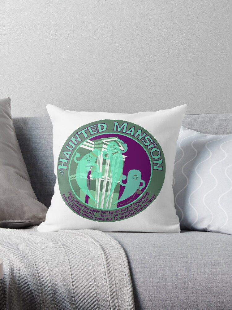 'The Haunted Mansion (purple and green)' Throw Pillow by clockworkmonkey