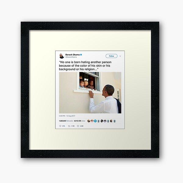 Barack Obama - Most Liked Tweet Ever Framed Art Print