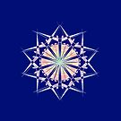 Colorful Blue Background Mandala  by 86248Diamond
