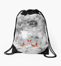 Wonderland In Black & White Drawstring Bag