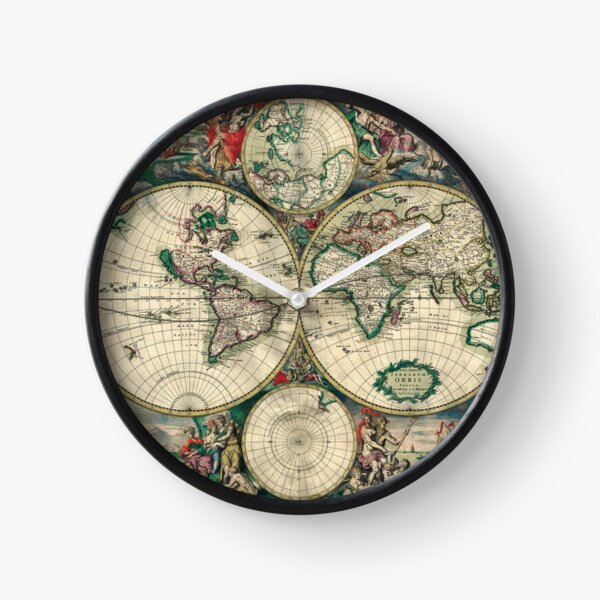 Vintage world map Clock