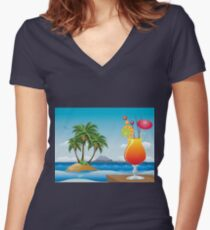 Cocktail on the beach Women's Fitted V-Neck T-Shirt
