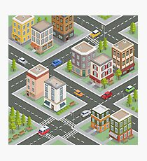 Isometric Cityscape. Isometric Buildings. Isometric Houses. Isometric City. Modern Houses. Isometric Cars.  Photographic Print