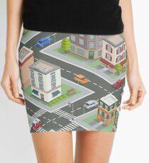 Isometric Cityscape. Isometric Buildings. Isometric Houses. Isometric City. Modern Houses. Isometric Cars.  Mini Skirt