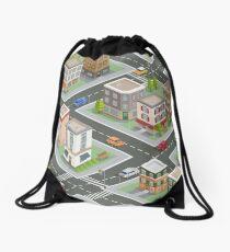 Isometric Cityscape. Isometric Buildings. Isometric Houses. Isometric City. Modern Houses. Isometric Cars.  Drawstring Bag