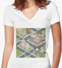 Isometric Cityscape. Isometric Buildings. Isometric Houses. Isometric City. Modern Houses. Isometric Cars.  Women's Fitted V-Neck T-Shirt