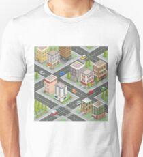Isometric Cityscape. Isometric Buildings. Isometric Houses. Isometric City. Modern Houses. Isometric Cars.  Unisex T-Shirt