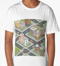 Isometric Cityscape. Isometric Buildings. Isometric Houses. Isometric City. Modern Houses. Isometric Cars.  Long T-Shirt