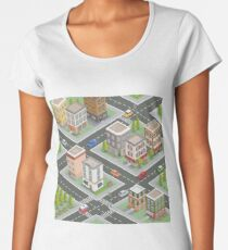 Isometric Cityscape. Isometric Buildings. Isometric Houses. Isometric City. Modern Houses. Isometric Cars.  Women's Premium T-Shirt