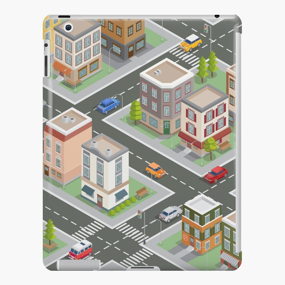 Isometric Cityscape. Isometric Buildings. Isometric Houses. Isometric City. Modern Houses. Isometric Cars.  iPad Case & Skin