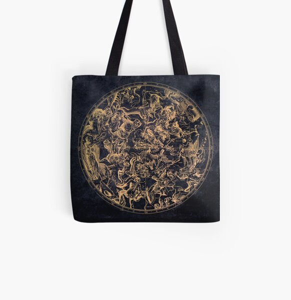 Vintage Constellations and Astrological Signs | Yellowed Ink and Cosmic Colour All Over Print Tote Bag