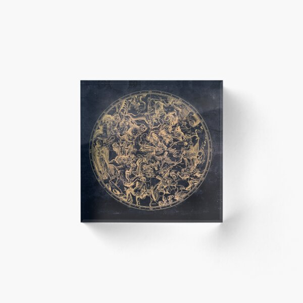 Vintage Constellations and Astrological Signs   Yellowed Ink and Cosmic Colour Acrylic Block
