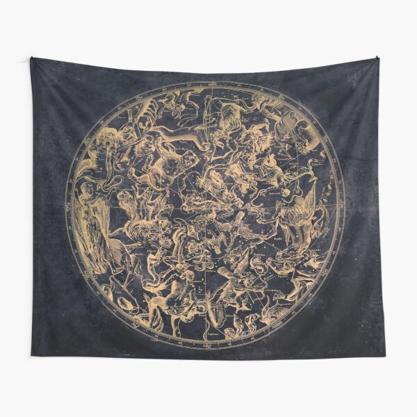 Vintage Constellations and Astrological Signs | Yellowed Ink and Cosmic Colour Tapestry