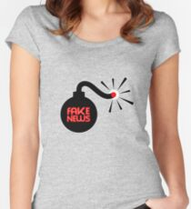 FAKE NEWS BOMB Women's Fitted Scoop T-Shirt