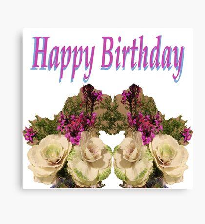 Floral Happy Birthday Canvas Print