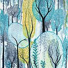 Cascading - Abstract watercolour garden painting by klbailey