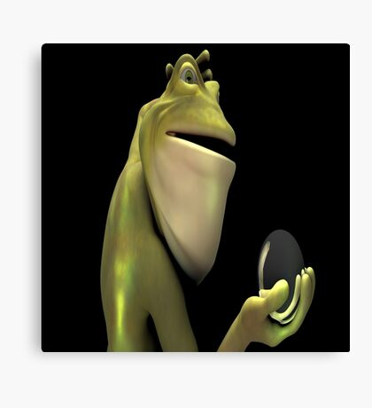 Frog Man With Egg Canvas Print