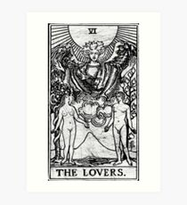 The Lovers Tarot Card - Major Arcana - fortune telling - occult Art Print