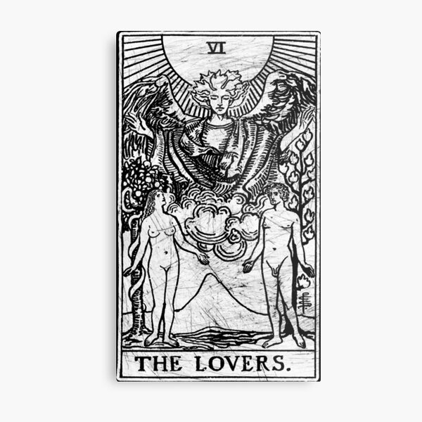 The Lovers Tarot Card - Major Arcana - fortune telling - occult Metal Print