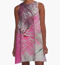 Abstrakt Pink White MW Art Marion Waschk A-Linien Kleid