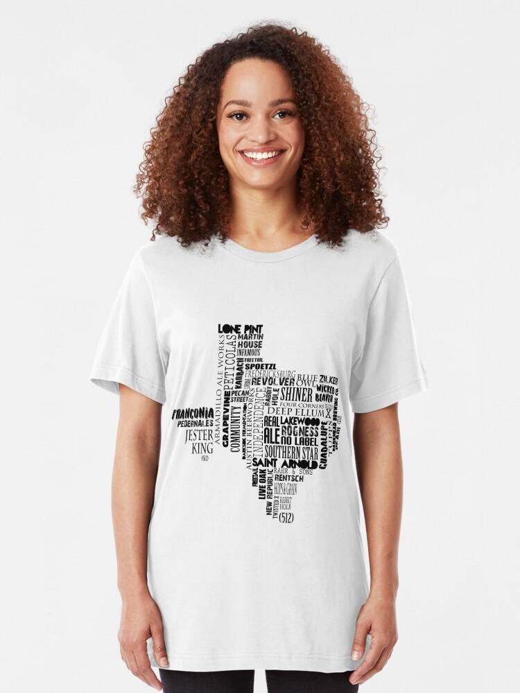 Alternate view of Texas Beer Lovers' Merch (black) Slim Fit T-Shirt