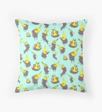 cockatiel doodle pattern Throw Pillow