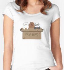 We Bare Bears Cartoon - Baby Bear Cubs Box - Grizz, Panda, Ice Bear Women's Fitted Scoop T-Shirt