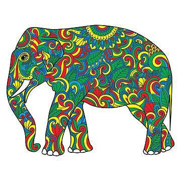 Vintage elephant with tribal ornaments by Viktoriia
