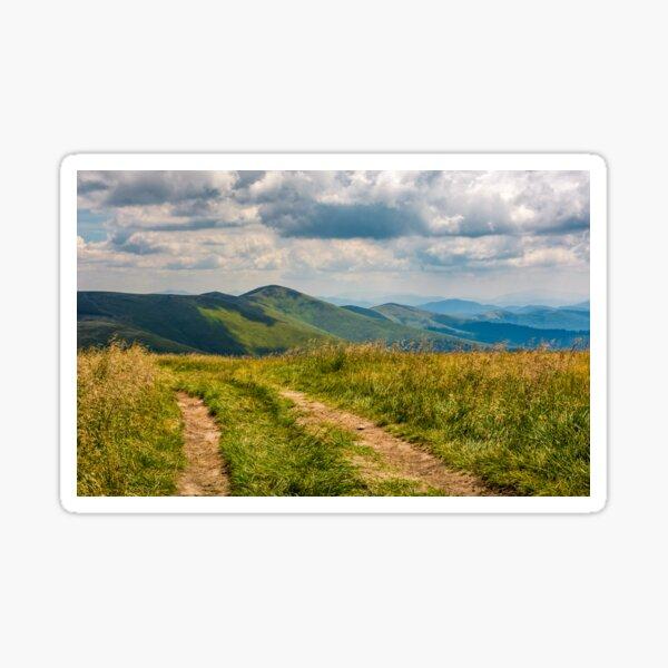 dirt road through grassy meadow on the ridge Sticker