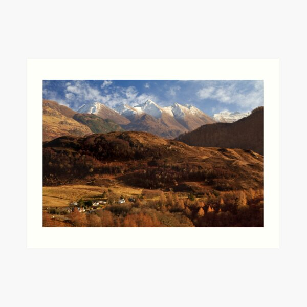 The Five Sisters of Kintail Snow Scene Sotland Art Print