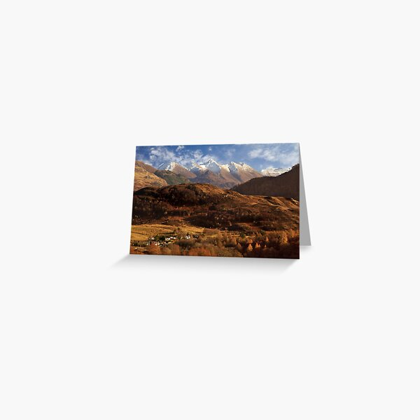 The Five Sisters of Kintail Snow Scene Sotland Greeting Card