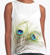 Beautiful exotic peacock feathers on white background with copy space. Contrast Tank
