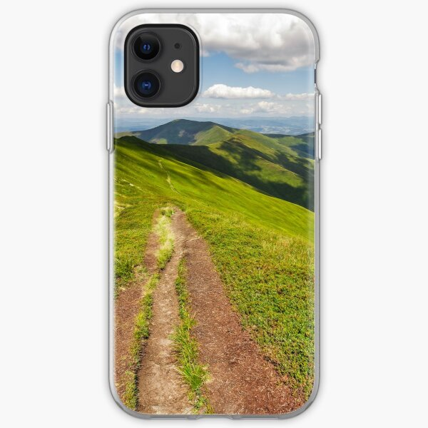 path through the mountain ridge in summer iPhone Soft Case