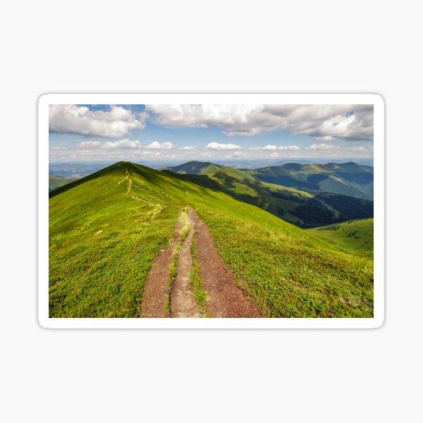 path through the mountain ridge in summer Sticker