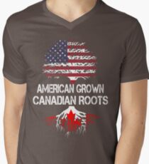 American Grown, Canadian Roots Men's V-Neck T-Shirt