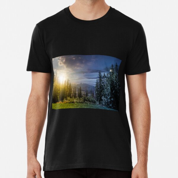 Spruce forest in High Tatras time concept Premium T-Shirt