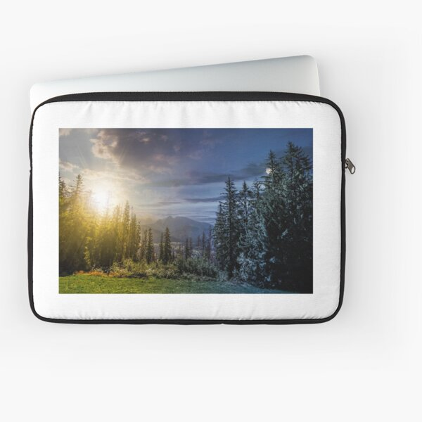 Spruce forest in High Tatras time concept Laptop Sleeve