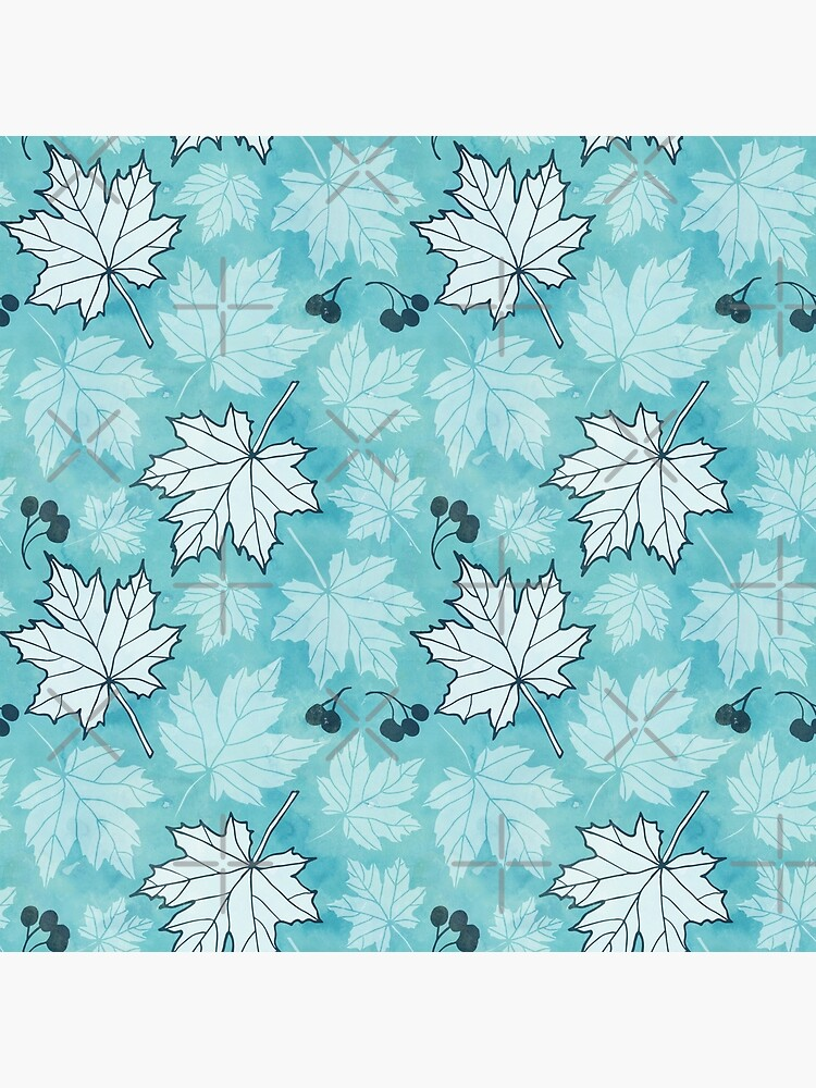 Autumn leaves in turquoise and white by adenaJ