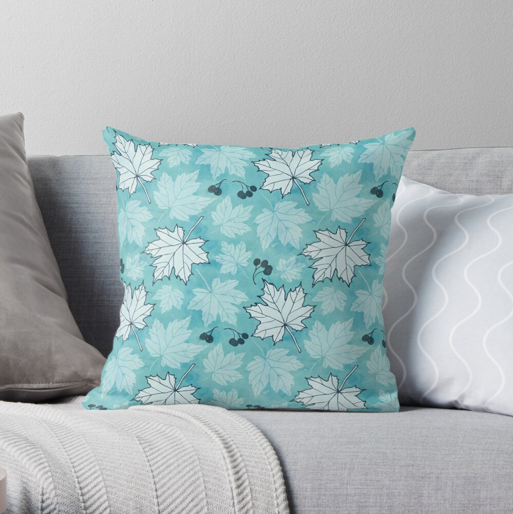 Autumn leaves in turquoise and white Throw Pillow