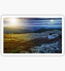 time change over stones on the edge of mountain hillside Sticker
