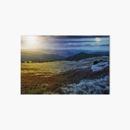 time change over stones on the edge of mountain hillside Art Board Print