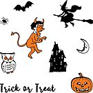Retro Trick or Treat - Turquoise - Halloween pattern by Cecca Designs by Cecca-Designs