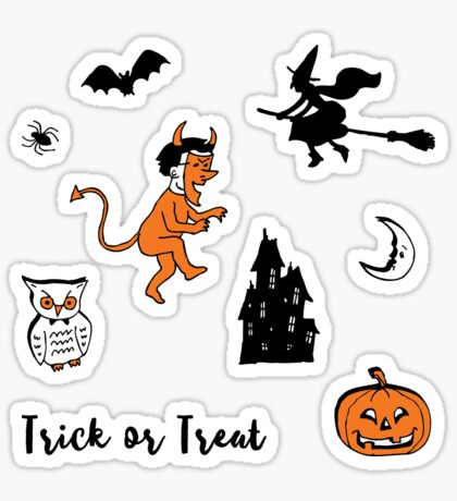 Retro Trick or Treat - Turquoise - Halloween pattern by Cecca Designs Sticker