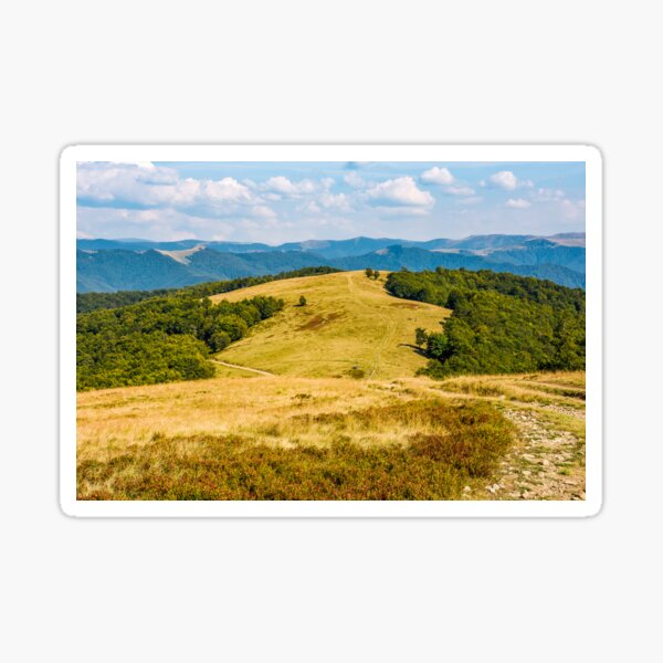 landscape with alpine meadow and mountain ridge Sticker
